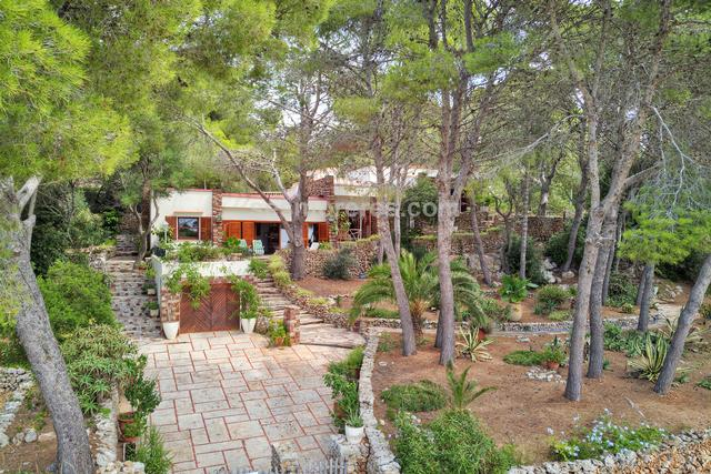 This beautiful property is fully integrated into a beautiful pine forest landscape and enjoys views of the sea. The main house on one level, consists of a large living room with dining room, kitchen and four bedrooms and 3 bathrooms. There is a wide entrance and the house has a garage. Around the pool in the upper part of the property, there is a smaller building that has two bathrooms with dressing area and a room and a separate large covered porch, a perfect place to enjoy. Just 300 meters away is the beach of Santo Tomas and a pleasant walk along the coast will take you to the unspoiled beach of Binigaus. There is the possibility of buying 3 plots of land adjacent to the property.